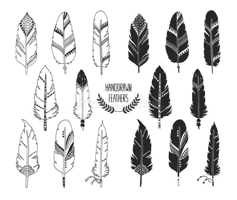 Ręka rysujący set piórka i sylwetka ilustracji