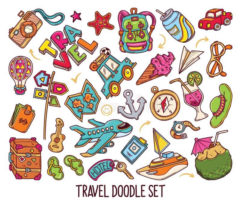 Ręka rysujący set podróż doodles w kolorze vector-01 royalty ilustracja