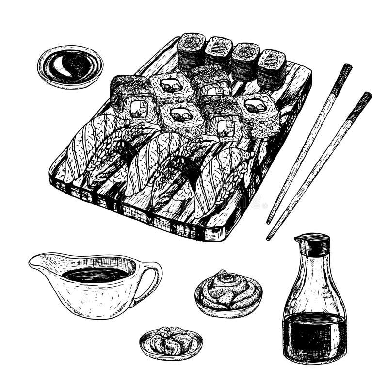 Ręka rysujący set suszi i rolki Wektorowy nakreślenie ilustracja wektor