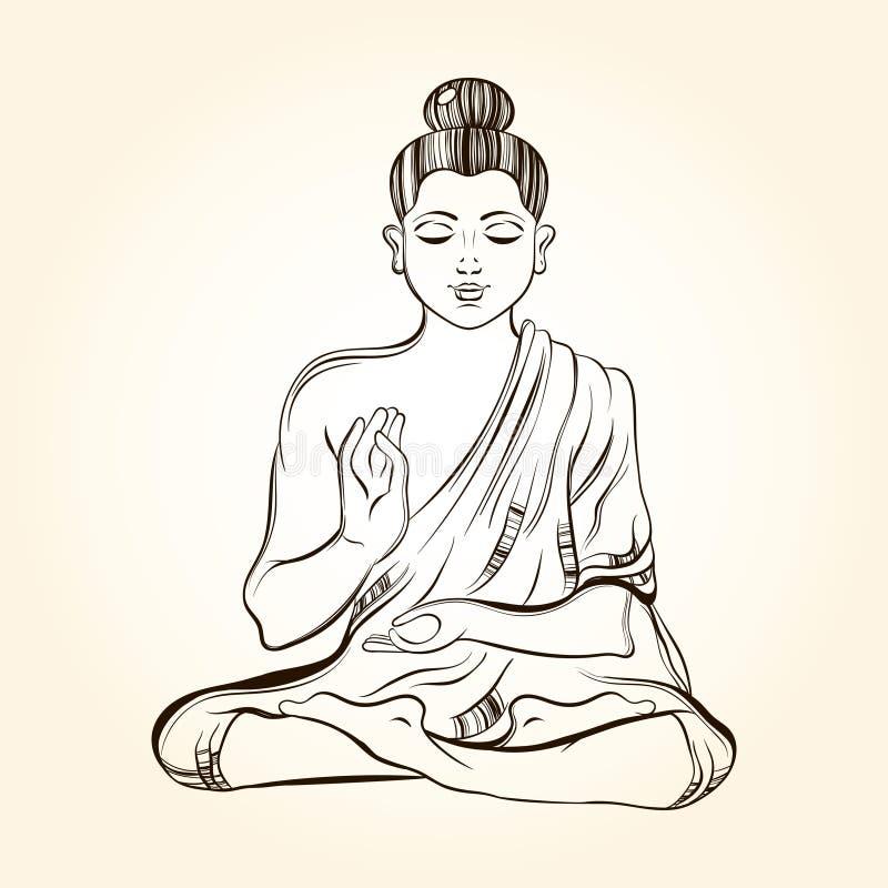 Ręka rysujący siedzący Buddha w medytaci Nakreślenie dla obrządkowego tatto royalty ilustracja