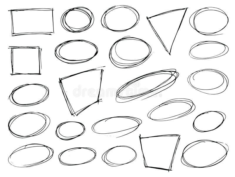 Ręka rysujący skrobanina kształty ilustracji