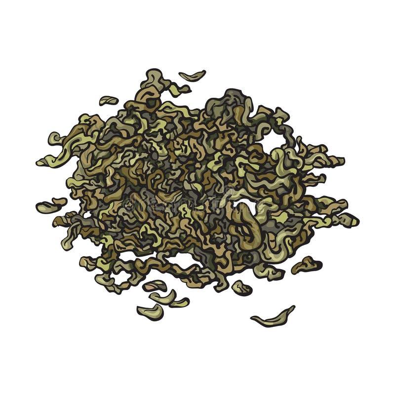 Ręka rysujący stos, rozsypisko sucha zielona herbata opuszcza ilustracji