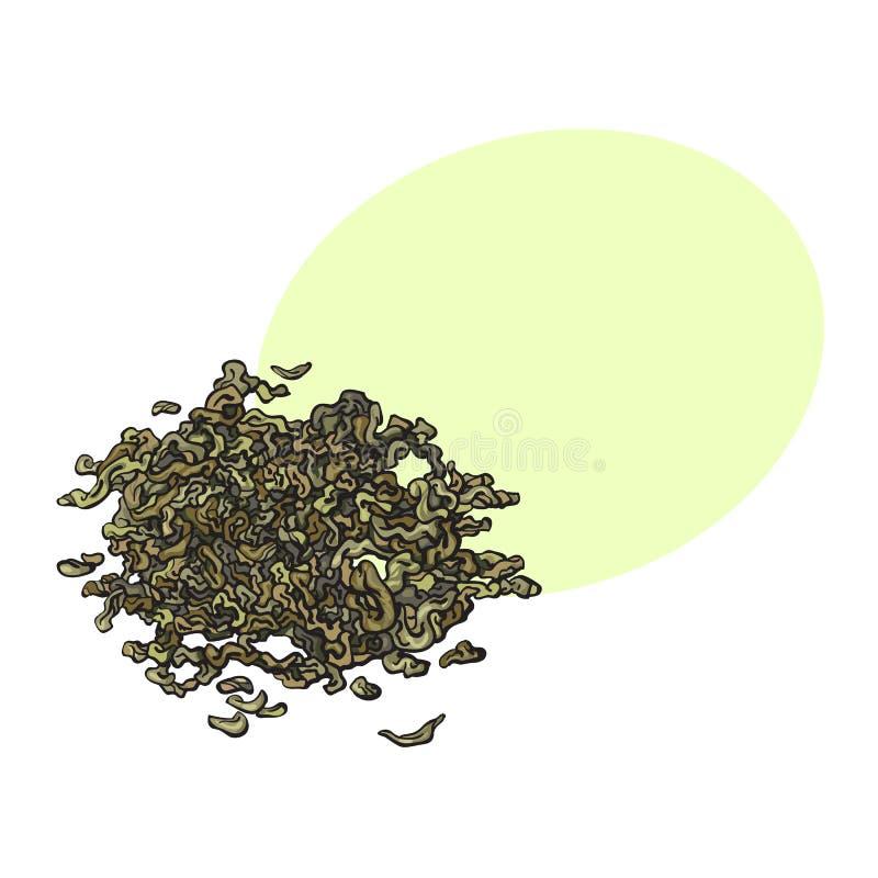 Ręka rysujący stos, rozsypisko sucha zielona herbata opuszcza royalty ilustracja
