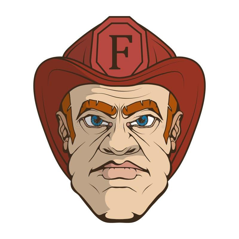 Ręka rysujący strażak Fachowy Pożarniczej ochrony pojęcie ratownik Strażak głowa w czerwonym hełmie ilustracji