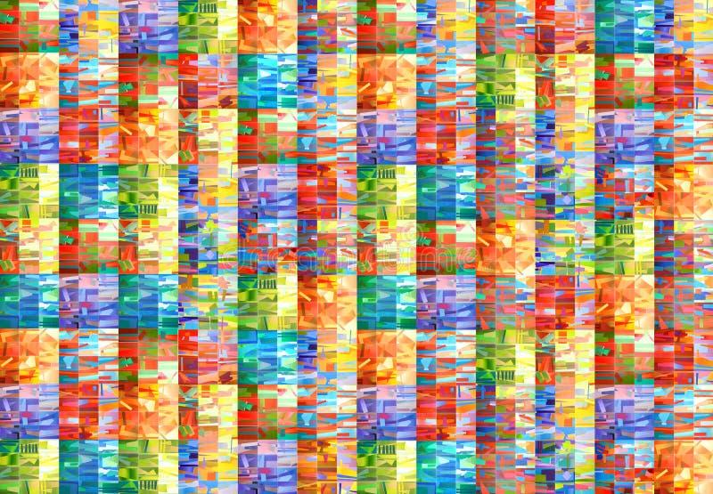 Ręka rysujący stubarwny akwarela wzór Handmade geometryczny tło barwioni kwadraty ilustracja wektor