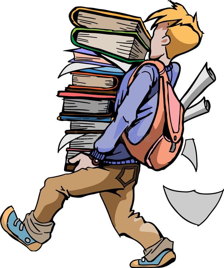Ręka rysujący studencki przewożenie stos książki na białym tle ilustracja wektor