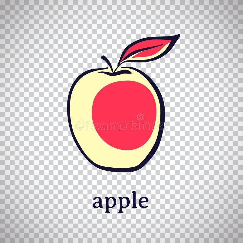 Ręka rysujący stylizowany jabłko Wektorowa owoc odizolowywająca na przejrzystym tle Graficzna ilustracja dla logo lub ikony royalty ilustracja
