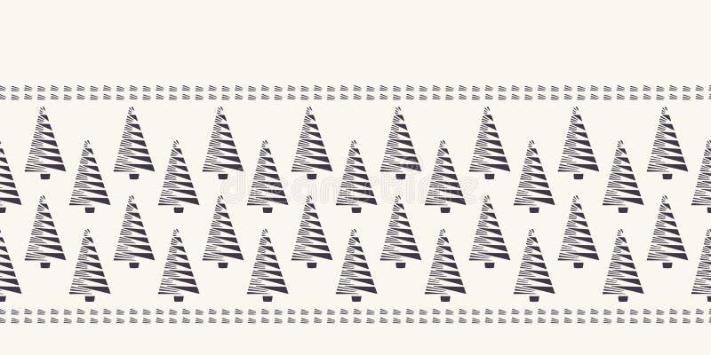 Ręka rysujący stylizujący choinki granicy wzór Geometryczny abstrakcjonistyczny jedlinowy las na ecru bielu tle ?liczny zima waka royalty ilustracja