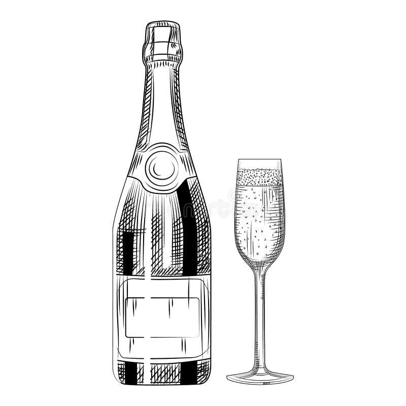 Ręka rysujący szampański szkło i butelka Odosobneni przedmioty royalty ilustracja