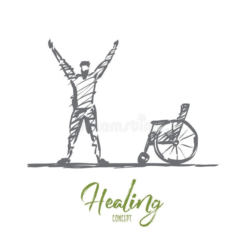 Ręka rysujący szczęśliwy uzdrawiający mężczyzna blisko wózka inwalidzkiego ilustracja wektor
