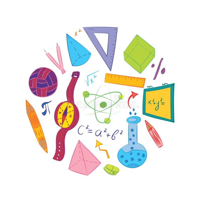 Ręka rysujący szkolni symbole Dziecko rysunki piłka, książki, ołówki, władcy, kolba, kompas, strzała Układać w okręgu Wektor ja zdjęcia stock