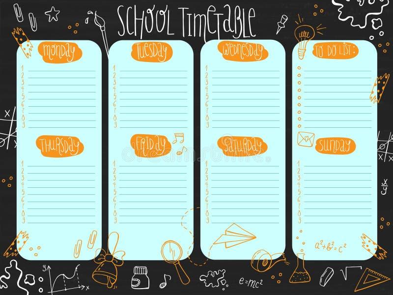 Ręka rysujący szkolny rozkład zajęć szablon z dniami tydzień i bezpłatne przestrzenie dla notatek na chalkboard ilustracji