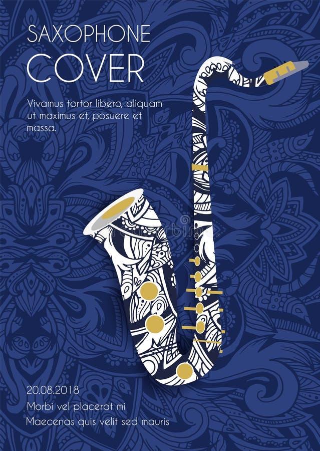Ręka rysujący sztuki tła ornamentu ilustraci muzykalny saksofonowy pojęcie również zwrócić corel ilustracji wektora royalty ilustracja