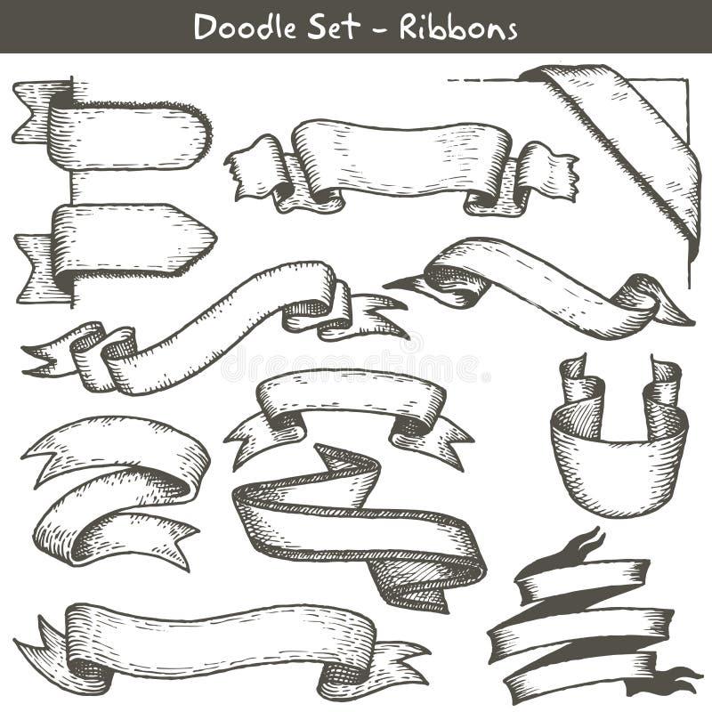 Ręka rysujący tasiemkowi sztandary ilustracja wektor