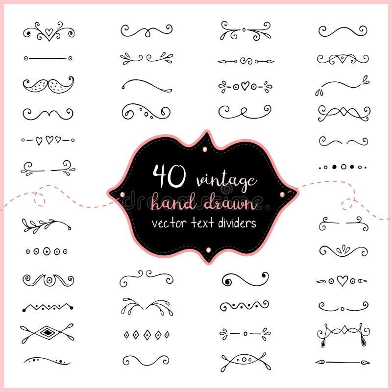Ręka rysujący tekstów dividers wektorowy doodle Ślubna dividers klamerki sztuka dla zaproszenia ilustracji