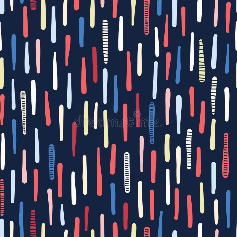 R?ka rysuj?cy textured morscy lampasy wektor bezszwowy wzoru Pionowo pasiaste nadmorski mody tkaniny Po ca?ym druk dla royalty ilustracja