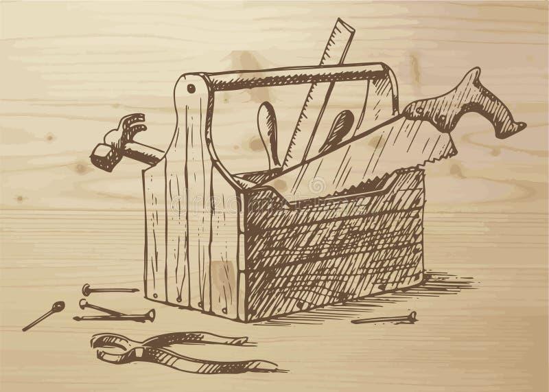 Ręka rysujący toolbox ilustracji