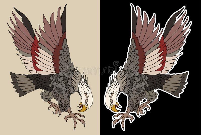 Ręka rysujący tradycyjny japończyk Eagle Rodowitego Amerykanina Eagle napadanie Stara szkoła tatuażu projekt ilustracji