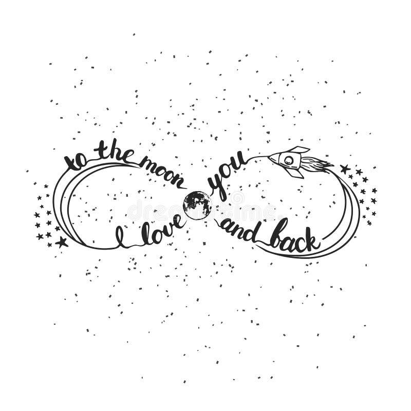 Ręka rysujący typografii literowania zwrot kocham ciebie księżyc i popieram Nieskończoność symbol dla walentynki ilustracja wektor