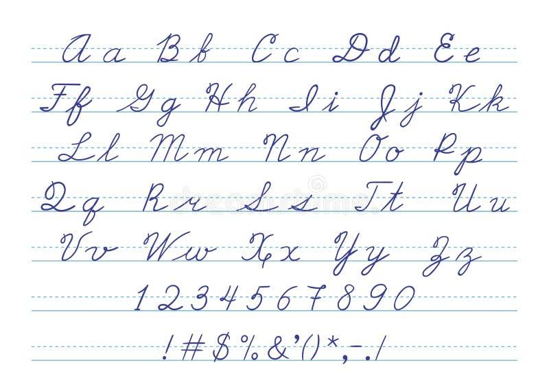 Ręka rysujący uppercase kaligraficzny abecadło i ilustracja wektor