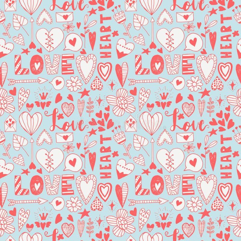 Ręka rysujący valentine doodle bezszwowy wzór royalty ilustracja
