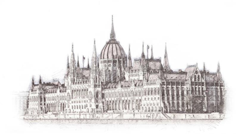 Ręka rysujący Węgierski parlament w Budapest ilustraci pojedynczy białe tło ilustracji