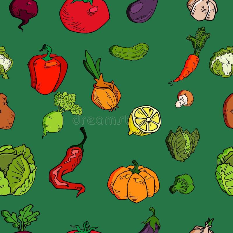Ręka rysujący warzywo bezszwowy wzór Zdrowy karmowy wektorowy tło royalty ilustracja