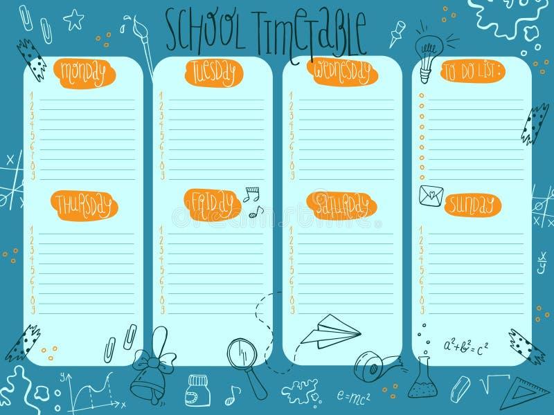 Ręka rysujący wektor szkoły tygodniowy planista, rozkładu szablon, szkolny rozkład zajęć ilustracja wektor