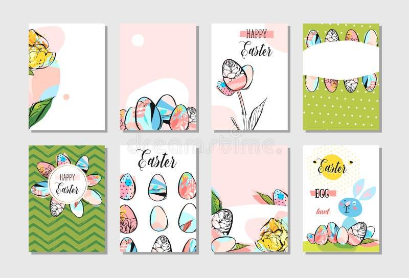 Ręka rysujący wektorowego abstrakcjonistycznego kreatywnie Szczęśliwego Wielkanocnego kartka z pozdrowieniami projekta inkasowy u ilustracja wektor