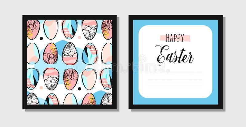 Ręka rysujący wektorowego abstrakcjonistycznego kreatywnie Wielkanocnego powitania projekta pocztówkowy szablon z malującymi Wiel ilustracji