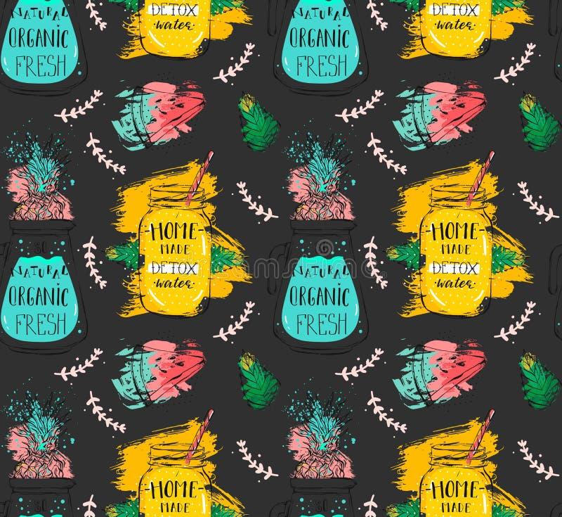 Ręka rysujący wektorowej abstrakcjonistycznej śmiesznej lato czasu lemoniady detox wody bezszwowy wzór z arbuzem, śniadanio-lunch royalty ilustracja