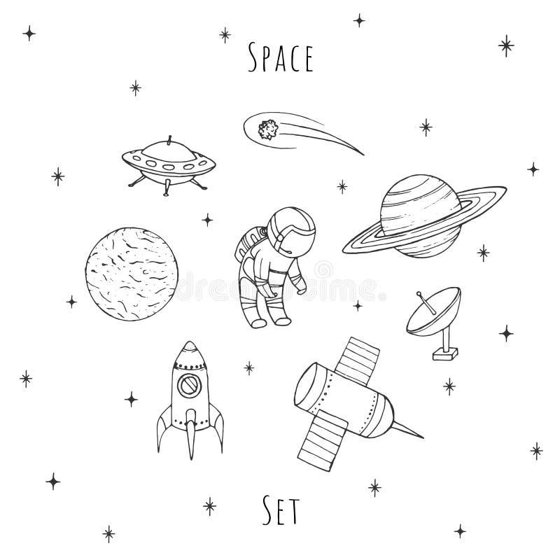Ręka rysujący wektorowej przestrzeni elementy: kosmonauta, satelity, rakieta, planety, spada gwiazda i UFO, Kosmosu set royalty ilustracja