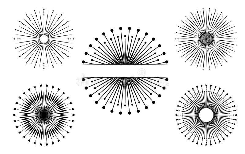 Ręka rysujący wektorowi projektów elementy Set pękać promienie Rocznik ilustracja wektor