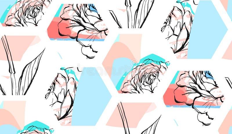 Ręka rysujący wektorowy abstrakcjonistyczny artystyczny textured sześciokątów kształtów kolażu bezszwowy wzór z grafiką może kwia ilustracja wektor
