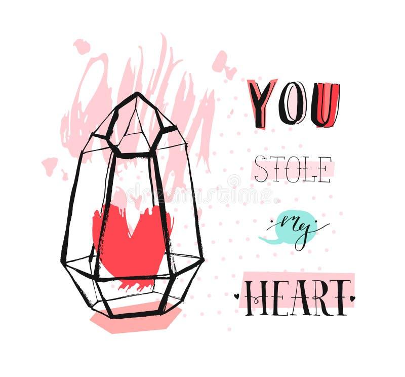 Ręka rysujący wektorowy abstrakcjonistyczny graficzny miłości pojęcia kartki z pozdrowieniami projekt z szorstkim heartt w szklan ilustracja wektor