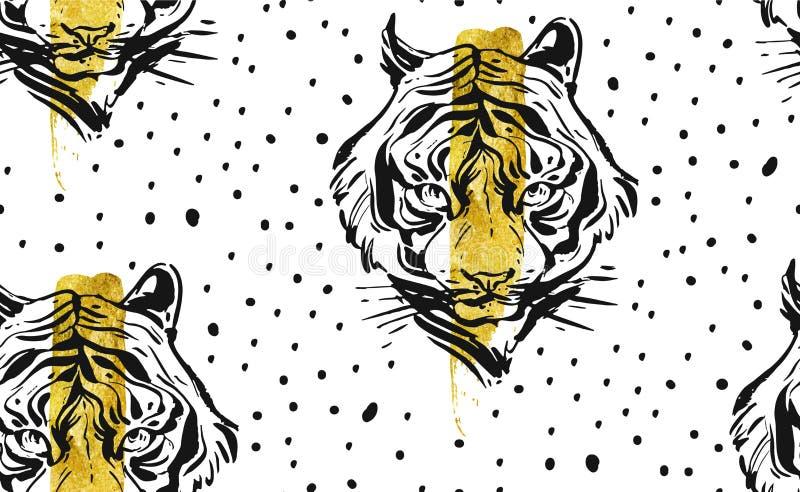 Ręka rysujący wektorowy abstrakcjonistyczny kreatywnie bezszwowy wzór z tygrysią twarzy ilustracją, złotą folią i polek kropek te zdjęcia stock
