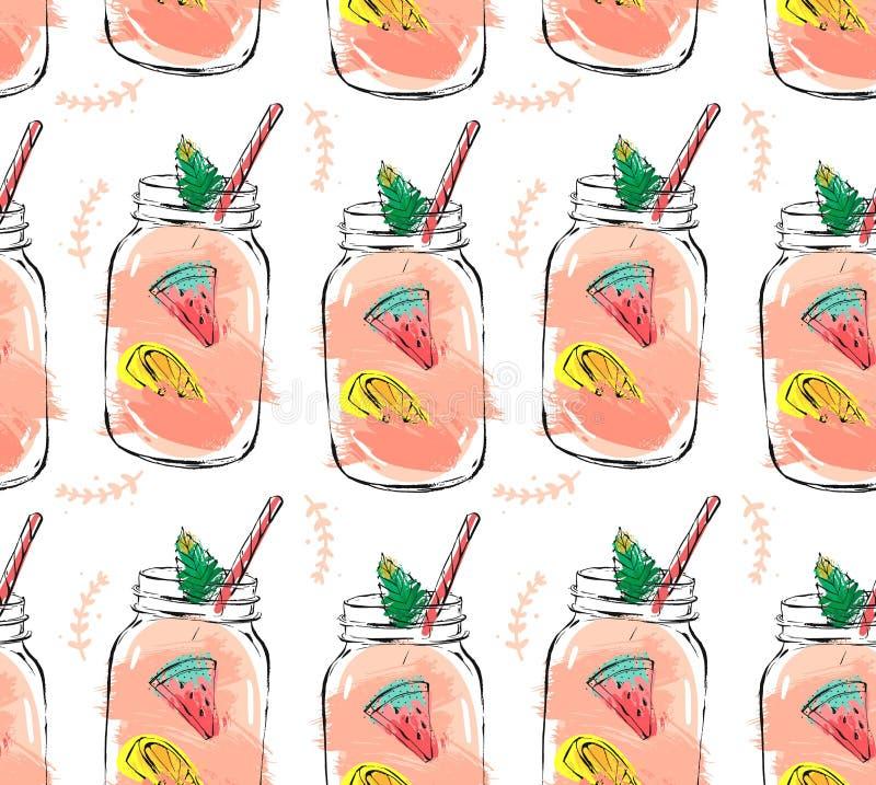 Ręka rysujący wektorowy abstrakcjonistyczny lato czasu świeżych owoc seamlees organicznie wzór z koktajlem w szklanej butelki sło ilustracji