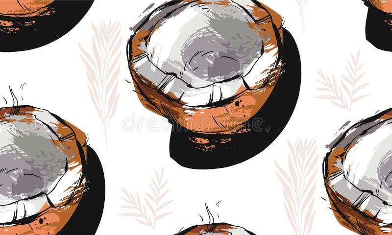 Ręka rysujący wektorowy abstrakcjonistyczny niezwykły bezszwowy wzór z egzotycznymi tropikalnej owoc mrówki palmy kokosowymi liść ilustracji