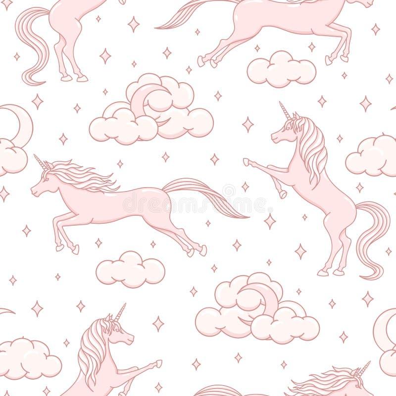 Ręka rysujący wektorowy kreskówek jednorożec powtórki wzór na białym tle Różowe magiczne istoty z gwiazdami, księżyc i chmurami, ilustracji