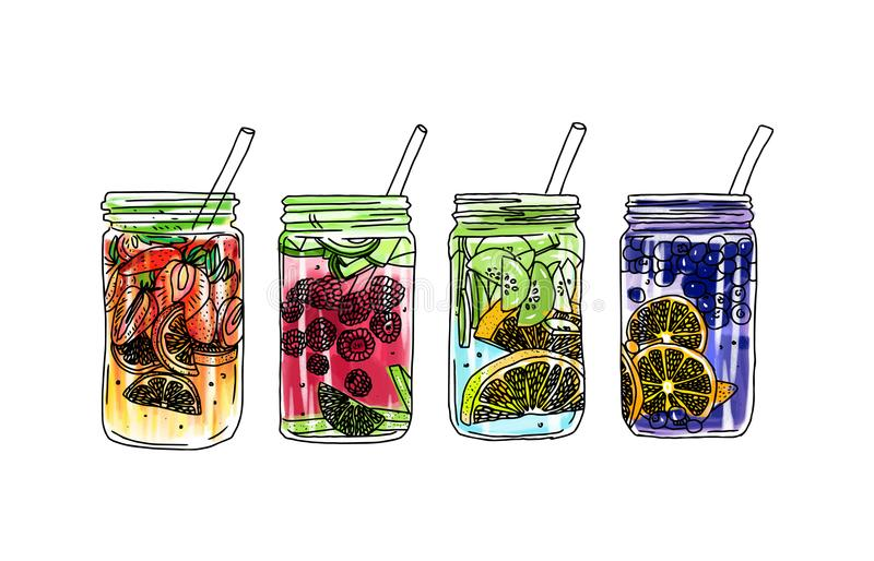 Ręka rysujący wektorowy lato lodu napój z cytrusem i jagodami Cytryna i mennica Detox wody nakreślenie Liniowa ilustracja royalty ilustracja