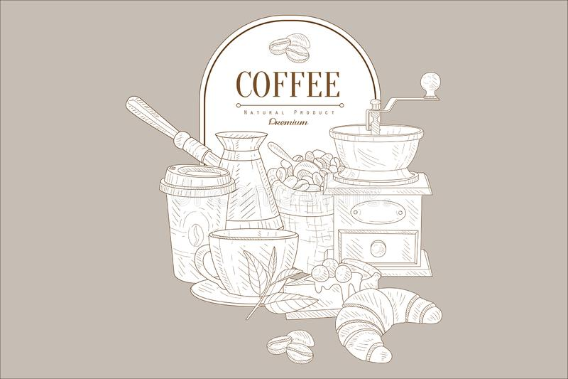 Ręka rysujący wektorowy projekt kawowi i słodcy desery Filiżanki, torba piec fasole, turek i kawowy młyn, Nakreślenie dla kawiarn ilustracja wektor