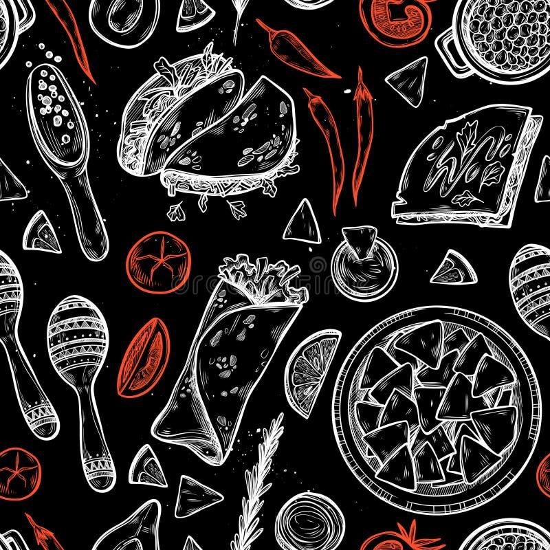 Ręka rysujący wektorowy tło - Meksykański jedzenie ilustracji