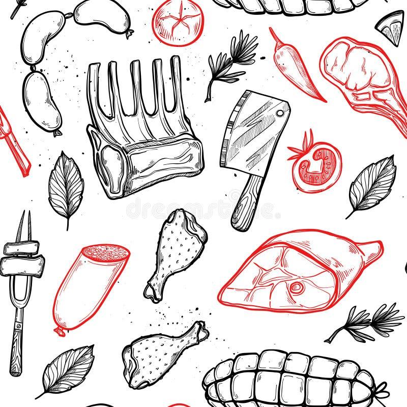 Ręka rysujący wektorowy tło - Mięśni produkty royalty ilustracja