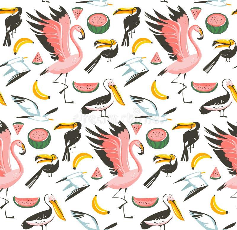 Ręka rysujący wektorowych abstrakcjonistycznych kreskówki lata czasu plaży graficznych ilustracj bezszwowy wzór z arbuzem, frajer ilustracji