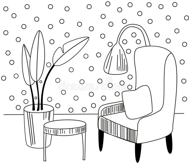 Ręka rysujący wektoru domu wewnętrzny nakreślenie z karłami, kwiatem w garnku i lampą, Barwiona ilustracja royalty ilustracja