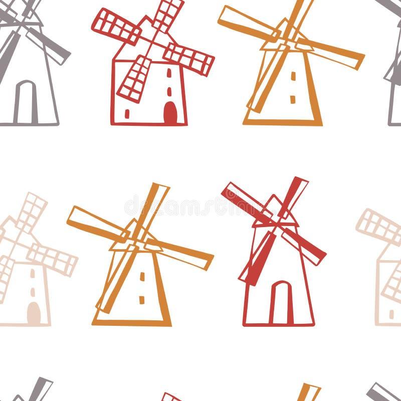 Ręka rysujący wiatraczki wektor bezszwowy wzoru royalty ilustracja