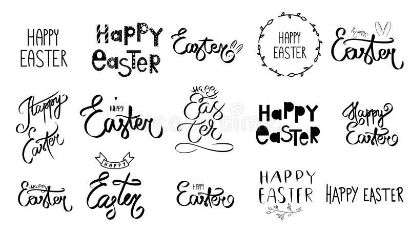 Ręka rysujący wielki Ustalony Szczęśliwy Easter dnia znak duża kolekcja Wielkanocny tekst Uroczysty set czarny kolor Śliczny szcz ilustracji