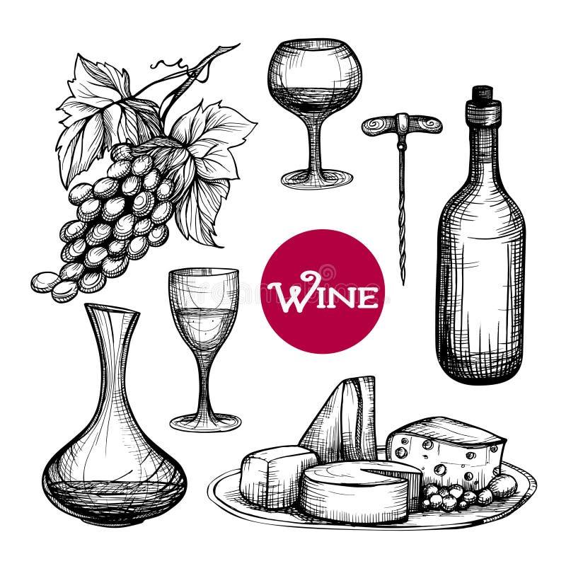 Ręka rysujący wino set ilustracji