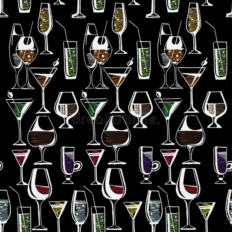 Ręka rysujący wzór alkoholów koktajle i napoje również zwrócić corel ilustracji wektora ilustracji