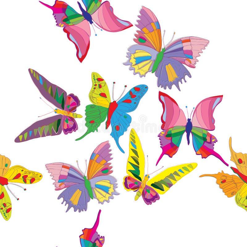 Ręka rysujący wzór z motylami ilustracja wektor